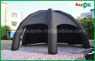中国 送風機が付いている黒いポリ塩化ビニールの膨脹可能な空気テント/広告のドームのくものテント サプライヤー
